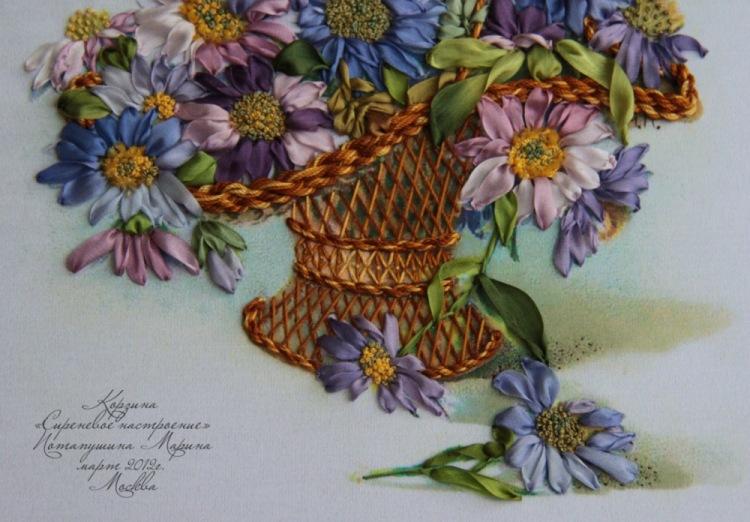 Вышивка лентами цветы в корзине фото 68