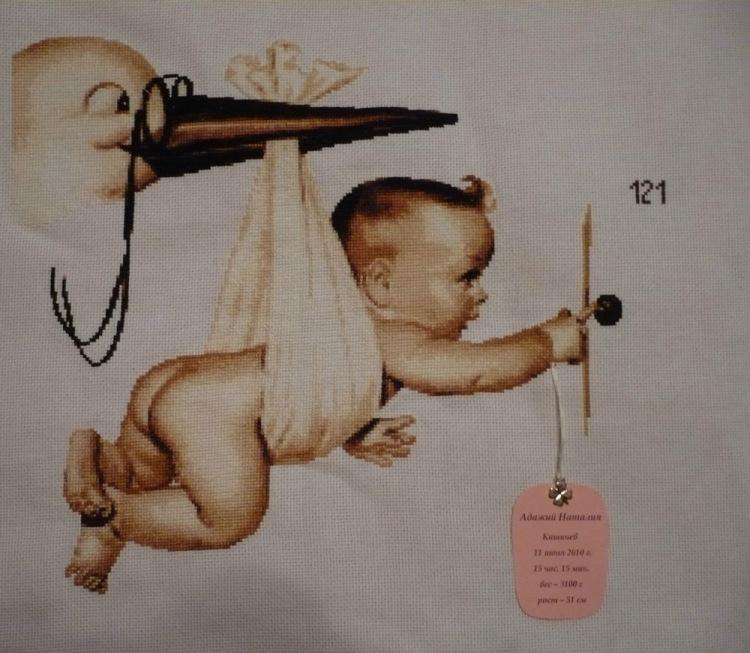 Аист с малышом вышивка крестом