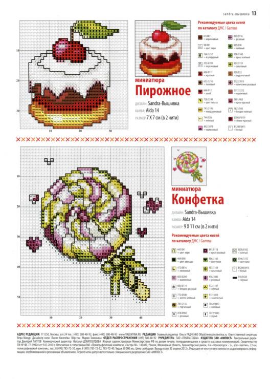 Схема вышивки пирожные