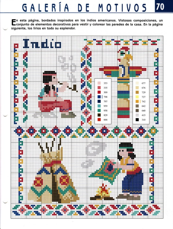 Схемы вышивок индейцев