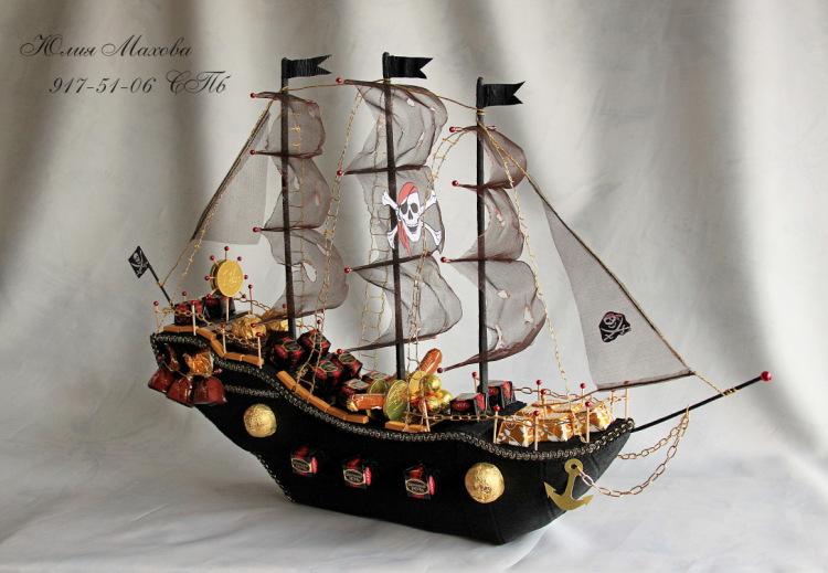 Пиратский корабль из конфет мастер класс