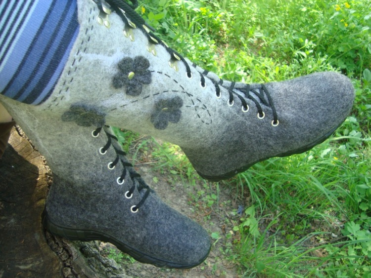 Ботинки из валенок своими руками 65