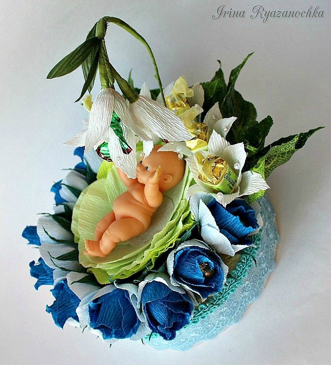 Подарки из конфет на рождение ребенка