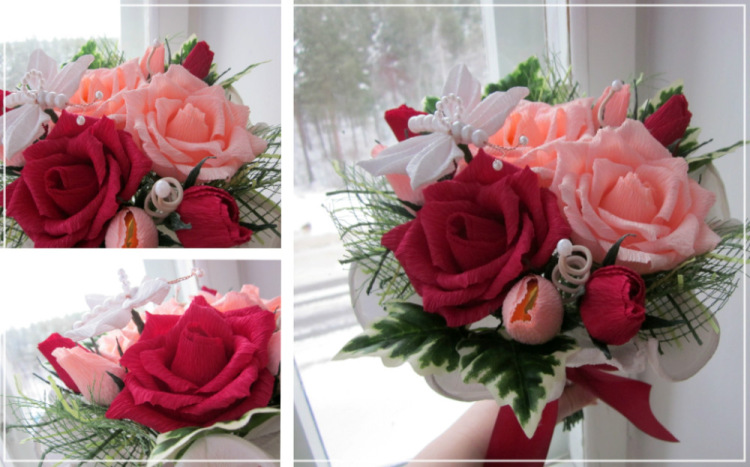 Букет роз из гофрированной бумаги и цветов своими руками