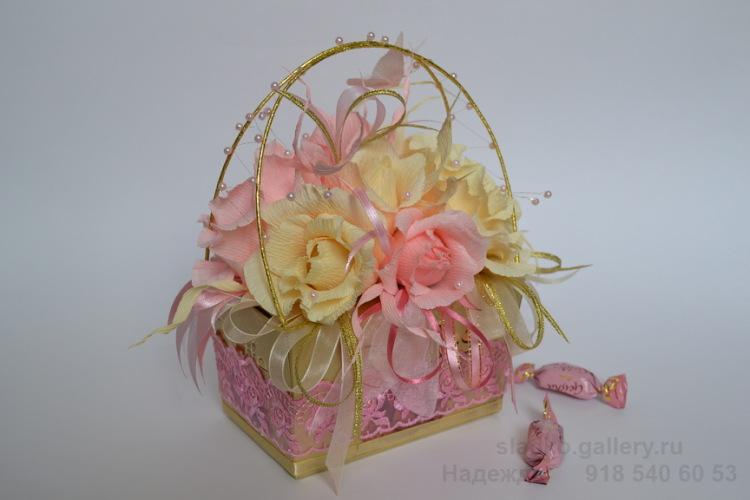 Коробка с цветами из конфет и чаем своими руками 58