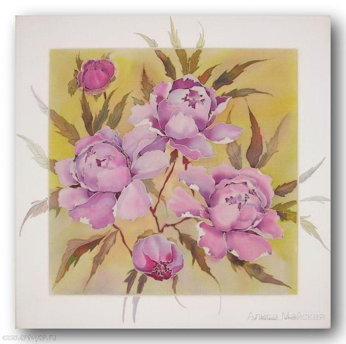 Картины батика цветы