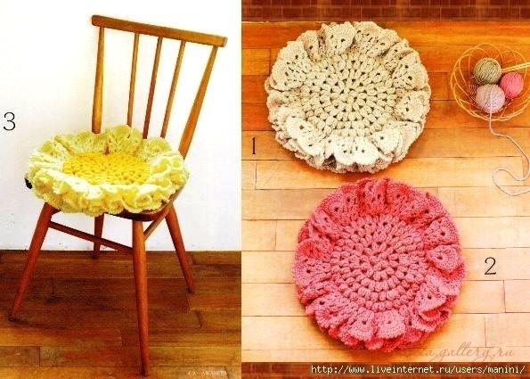 Вязание крючком круглые сидушки на стулья