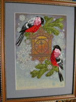Схема вышивки лентами птиц 19