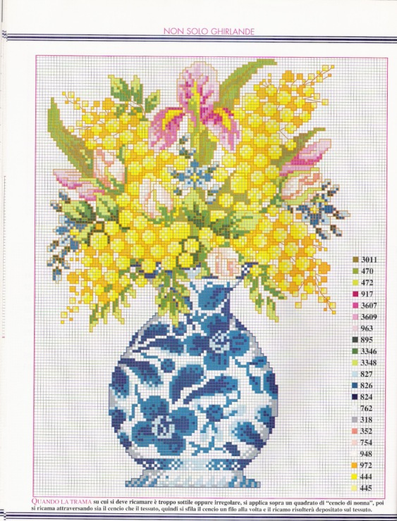 Как сделать вазу на вышивку
