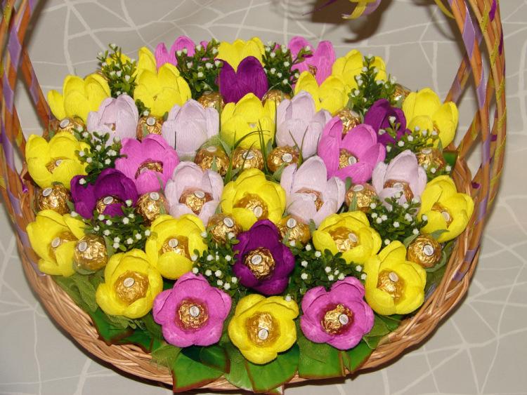 Фото цветы в корзине из гофрированной бумаги своими руками 55