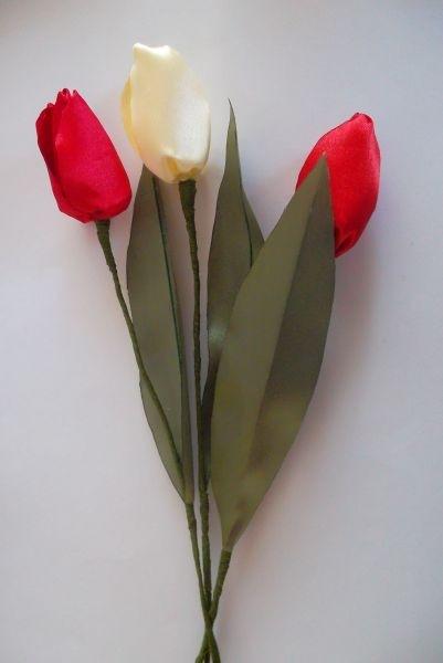 Тюльпаны атласной ленты своими руками