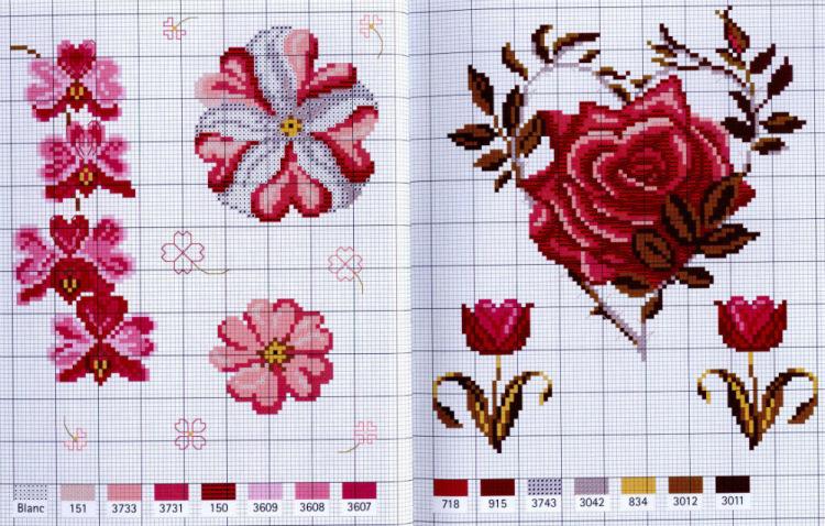 Вышивка крестом сердце из роз схемы 16