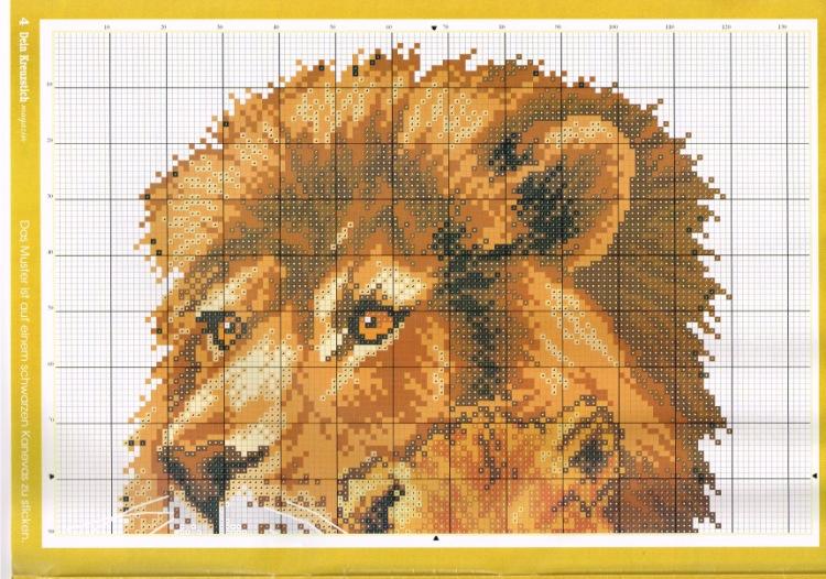 Вышивка крестом львов схемы 5