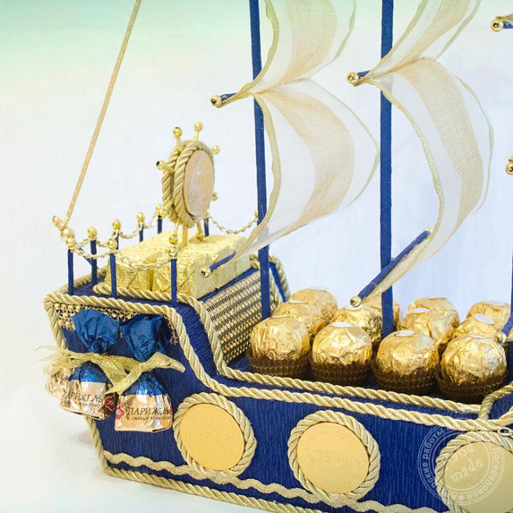 Корабль из конфет своими руками пошаговое фото для мужчин 80