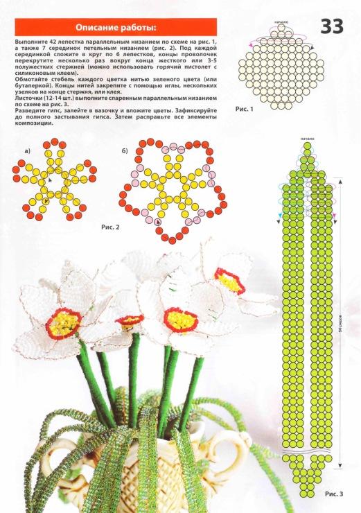плетение из бисера цветов со схемой