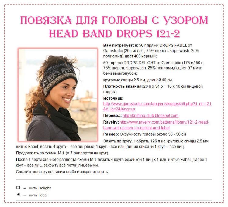 Узоры для вязания спицами повязок на голову